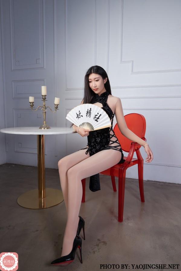 FairyClub T2027 黑旗袍连身袜